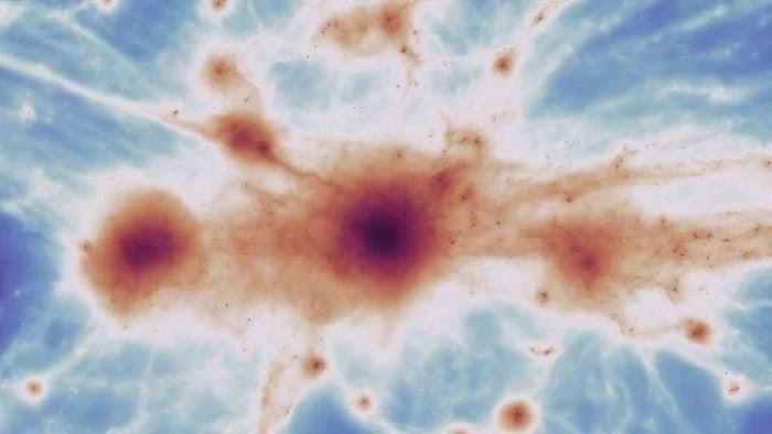 O anel sobreposto a esta imagem do Hubble é uma representação da matéria escura que se acredita estar causando as distorções no aglomerado de galáxias.