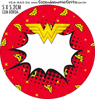 Wonder Woman Free Printable Cupcake Wrappers and Toppers.