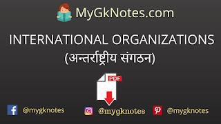 INTERNATIONAL ORGANIZATIONS (अन्तर्राष्ट्रीय संगठन) PDF in Hindi
