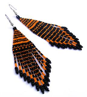 купить этнические серьги ручной работы оригинальные украшения из бисера