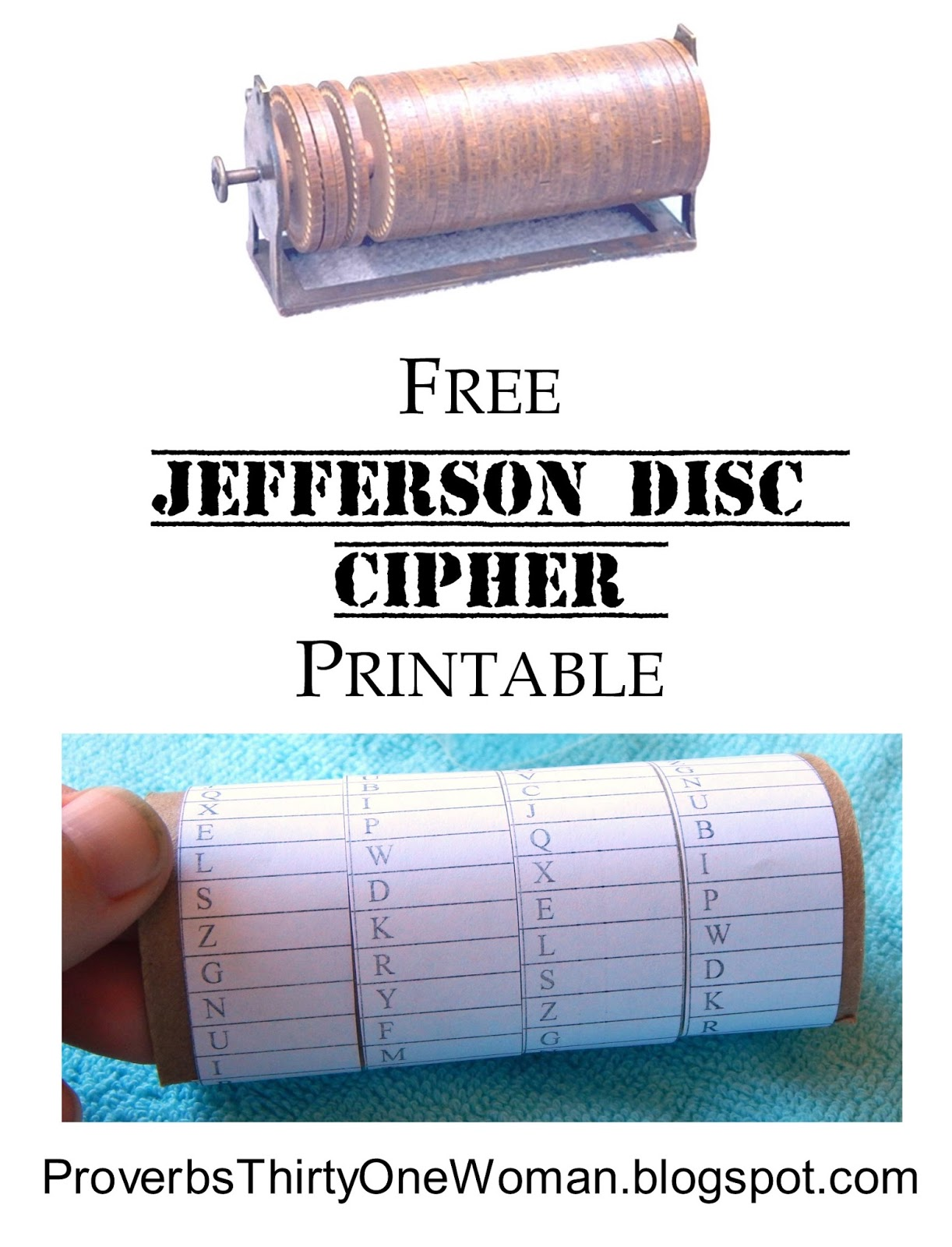 Proverbs 31 Woman: Free Jefferson Disc Cipher Printable