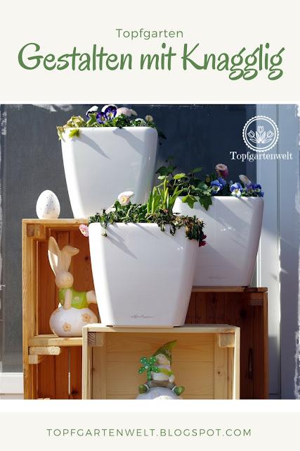 Topfgarten + DIY mit Knagglig (Kiste) und Töpfen viel Platz auf kleinem Raum schaffen - Blumendeko mit Hornveilchen und Bellis passend für den Frühling und Ostern: - Gartenblog Topfgartenwelt #Ostern #Frühling #Garten #OsterdekofürdenGarten #Hornveilchen #Knagglig #DIY
