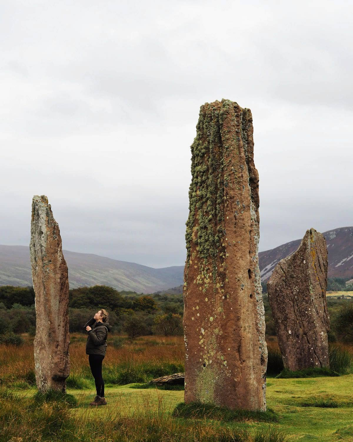 An Outlander moment - looking up at the huge Machrie Moor standing stones