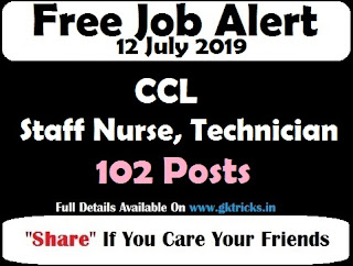 CCL Staff Nurse, Technician Recruitment 102 Posts