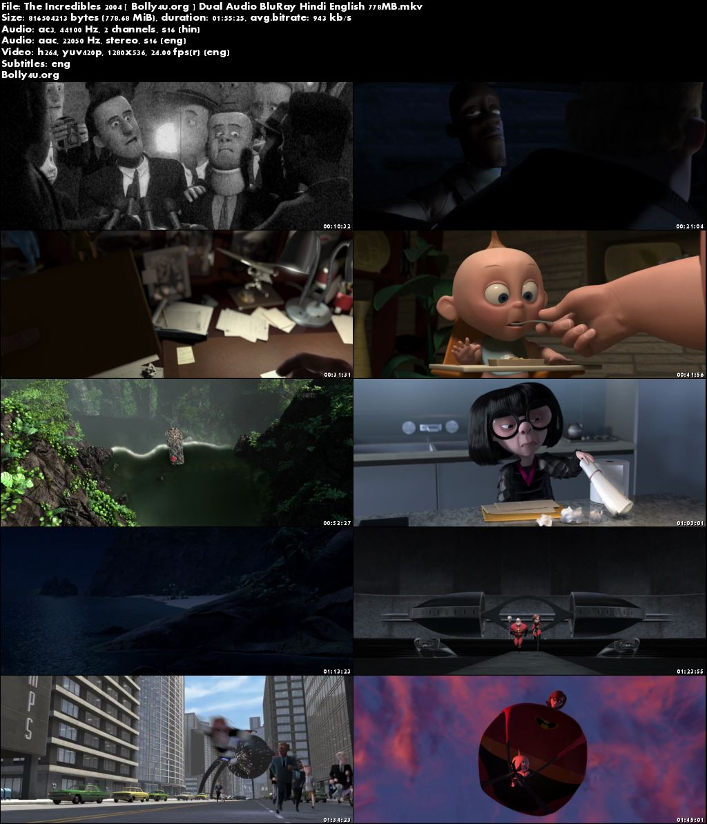 The Incredibles 2004 BluRay 350Mb Hindi Dual Audio 480p Download
