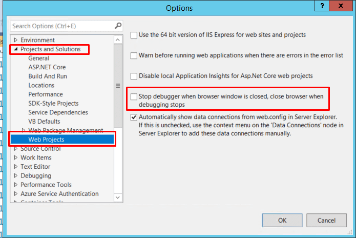 Stop debugger browser window is closed, close browser when debugging stops