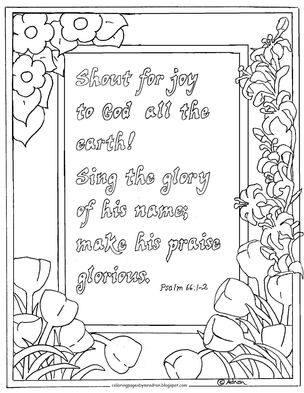 coloring pages for kids by mr adron shout for joy psalm 66 1 2