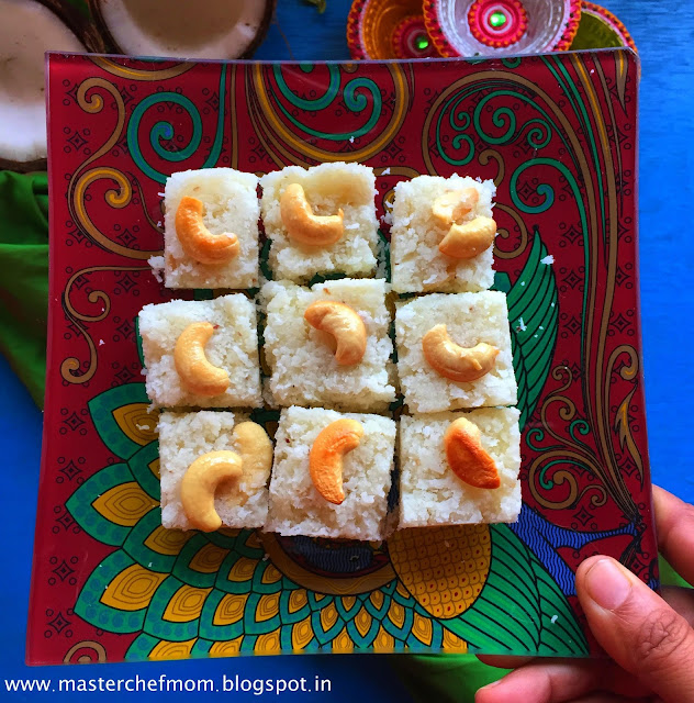 Thengai Burfi | Traditional South Indian Style Coconut Burfi