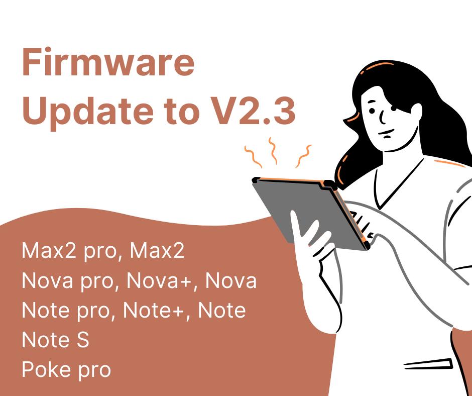 infografika o informująca o dostępnej aktualizacji oprogramowania do wersji 2.3 dla czytników Onyx Boox
