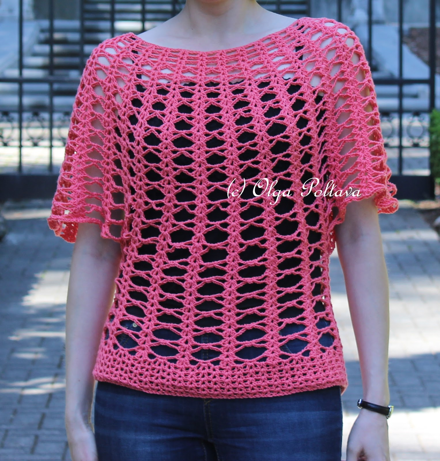 Summer Crochet Patterns : Lacy Crochet: Summer Lace Top, Cotton Fair by Premier Yarns