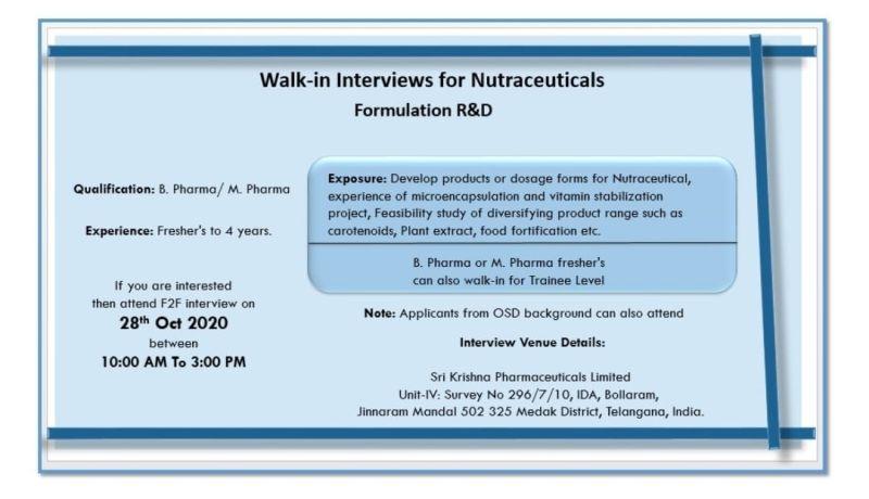 Sri Krishna Pharmaceuticals Limited Walk In Interview For B-Pharma / M-Pharma - Formulation R&D