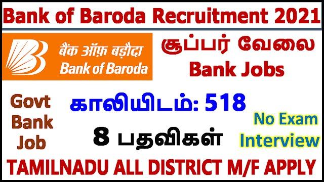 Bank of Baroda Recruitment 2021 | Bank of Baroda Jobs 2021 | 518 SO Posts | Specialist Officers (518 Vacancies)
