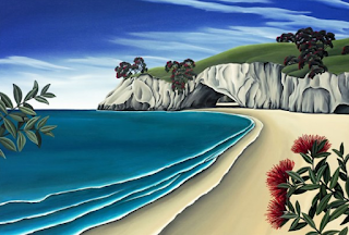 Painting of nz beach in summer with cave in background and Pohutukawa in foreground.