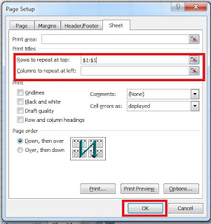 Print Title in Excel in Hindi