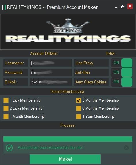 Reality Kings - Premium Account Maker