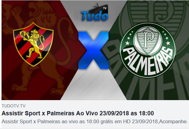 Assistir Sport x Palmeiras Ao Vivo 23/09/2018 as 18:00  (TV Tudo)