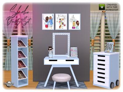 SLODIE beauty make up set СЛОДИ косметический набор для макияжадля The Sims 4 решительно девчачий уголок создаст ваше пространство красоты. губы беспорядочно мешают тени для век. тени для век стоят. таблица разного настенное зеркало. настенные росписи. Разное поверхность. ковер. сиденье. и весь необходимый беспорядок составляют. в 4 оттенках. Автор: jomsims