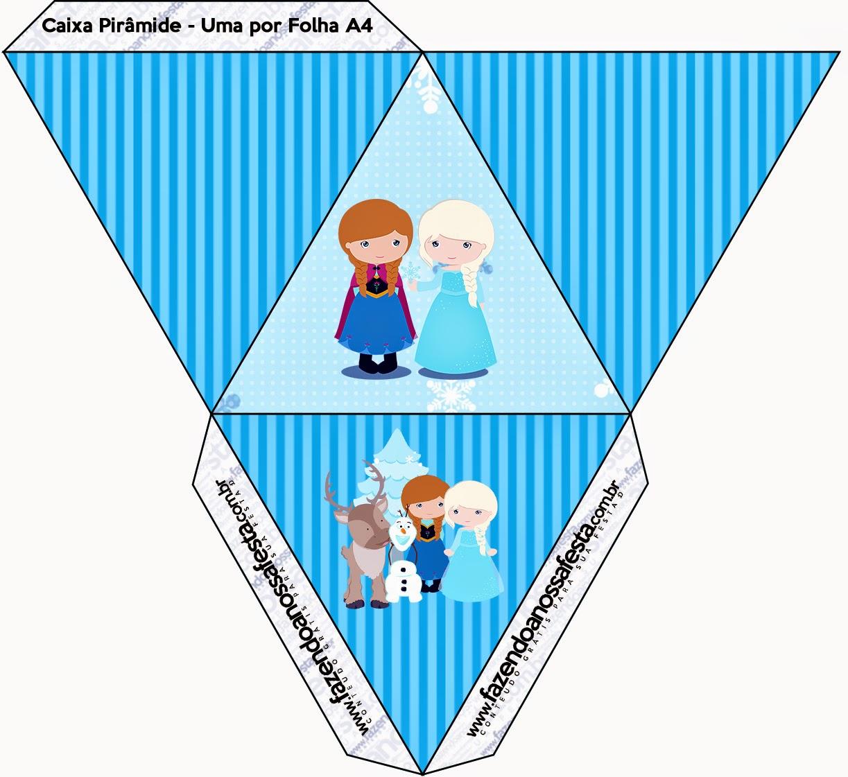 Caja con forma de pirámide de Frozen Niñas para Navidad Azul.