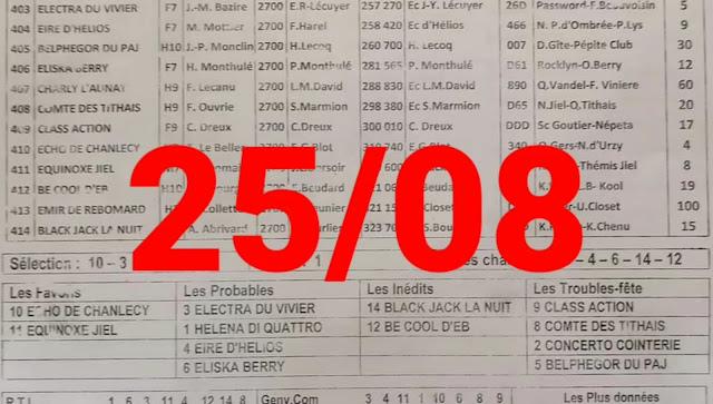 programme quinté Pronostic Mercredi 25/08/2021