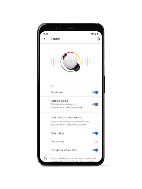 A phone showing how you can customise your audio experience with Pixel Buds