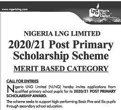 NLNG Post-Primary Scholarship Form 2020/2021 [Merit Based]