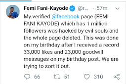 Femi Fani-Kayode's Facebook Page Hacked And Deleted