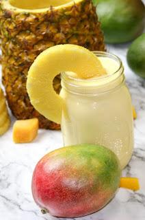 Recipe to make vegan mango pina coladas.