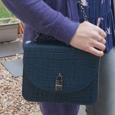 purple cardigan with Rebecca Minkoff Love Too in deep teal croc embossed leather | awayfromtheblue