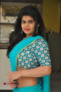 Telugu Actress Alekhya Stills in Green Saree at Swachh Hyderabad Cricket Press Meet  0025.JPG
