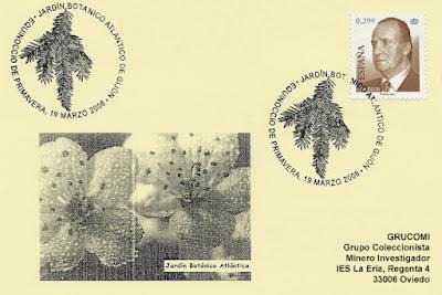 tarjeta, matasellos, filatelia, equinoccio, primavera, Gijón
