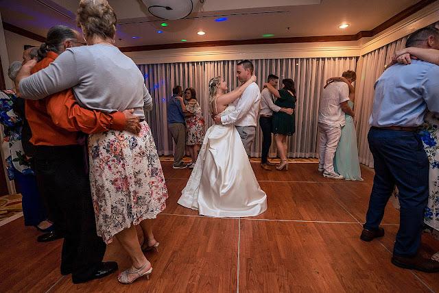 Guests slow dancing at Reception