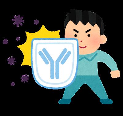 抗体で身を守る人のイラスト(男性)