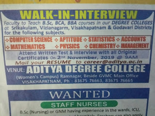 Aditya Degree College Lecturer jobs walk in interview at Visakhapatnam