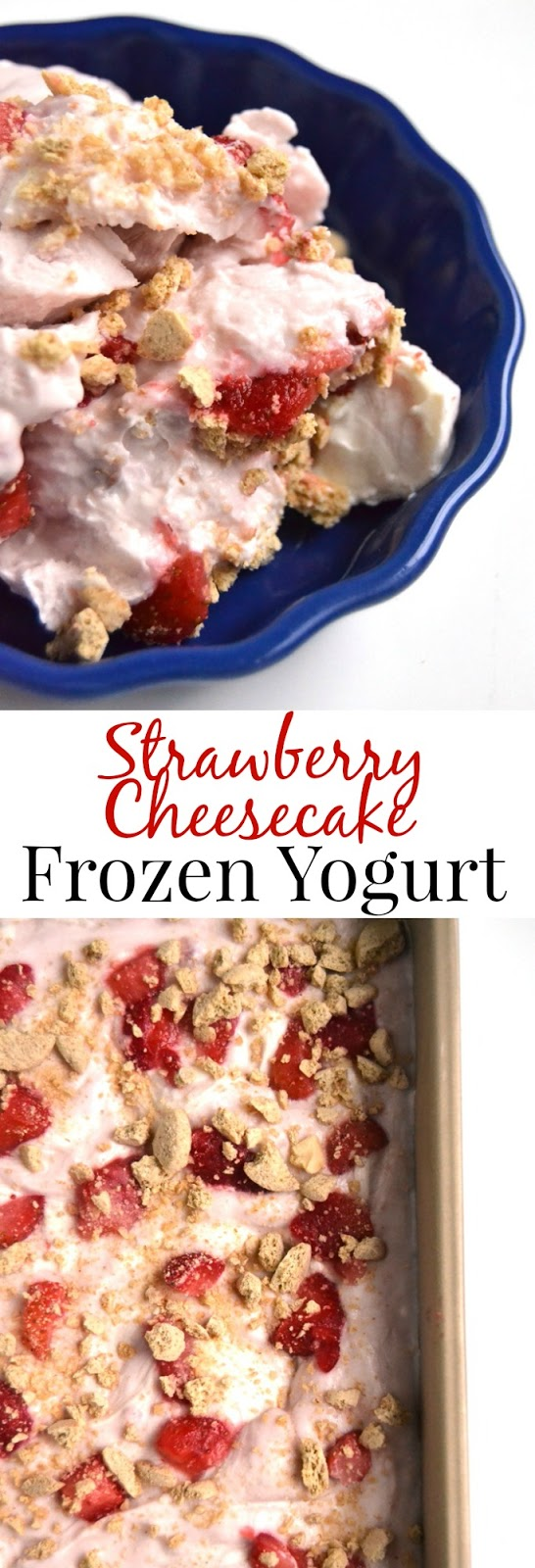 Strawberry Cheesecake Frozen Yogurt is a healthier treat with just 5 ingredients, is packed full of protein with Greek yogurt and tastes like an indulgent dessert with rich cream cheese, strawberries and graham crackers. www.nutritionistreviews.com