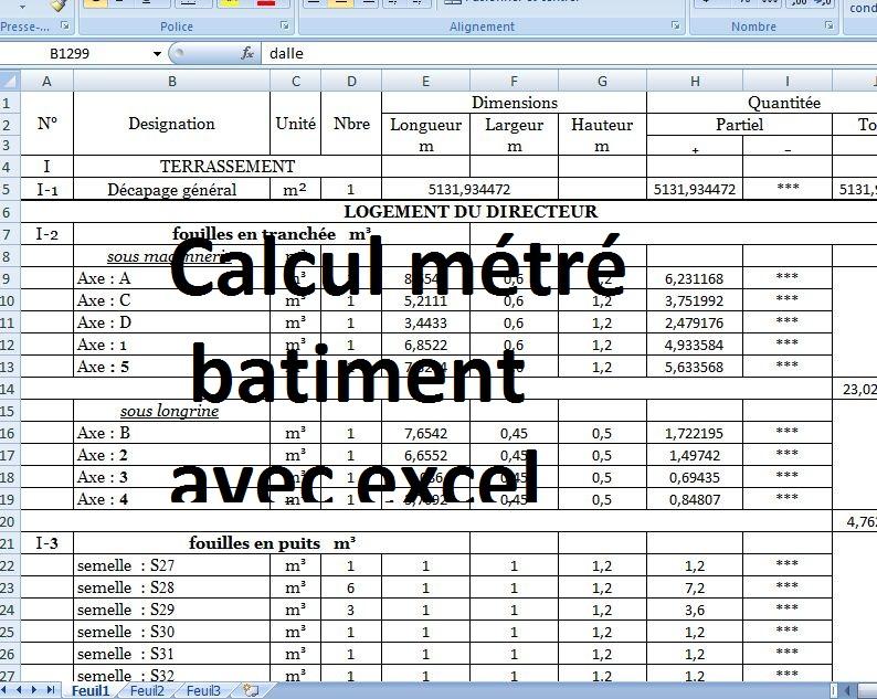 Bien-aimé Calcul métré batiment excel - avec plan dwg autocad | Outils  ZT52