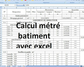 calcul m tr batiment excel avec plan dwg autocad cours g nie civil outils livres. Black Bedroom Furniture Sets. Home Design Ideas