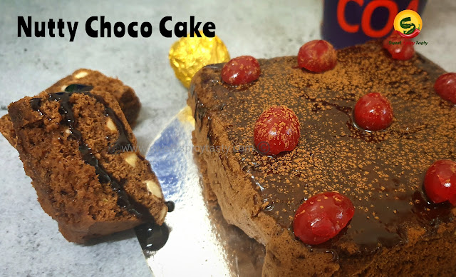 Whole wheat choco nutty cake , choco cake , nuts and chocolate cake , quick cake in microwave,  how to bake a cake in 5 mins, cake in 5 mins , delicious tea time whole wheat cake , 5 min chocolate cake