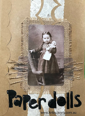 image for the paper dolls journal of mixed media artwork by Jenny James using Tim Holtz and Dylusions art supplies