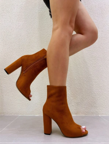 Brown Suede Peep Toe Ankle Boots