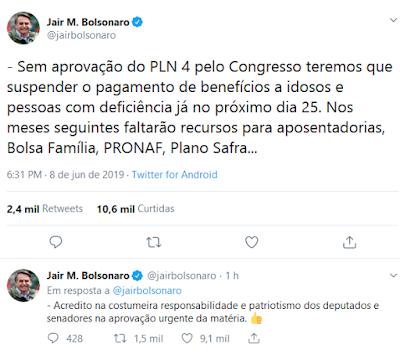 Twitter de Bolsonaro com chantagem