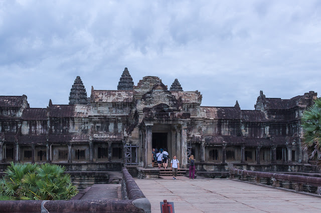 People entering the Angkor Wat Temple complex in Siem Reap Cambodia