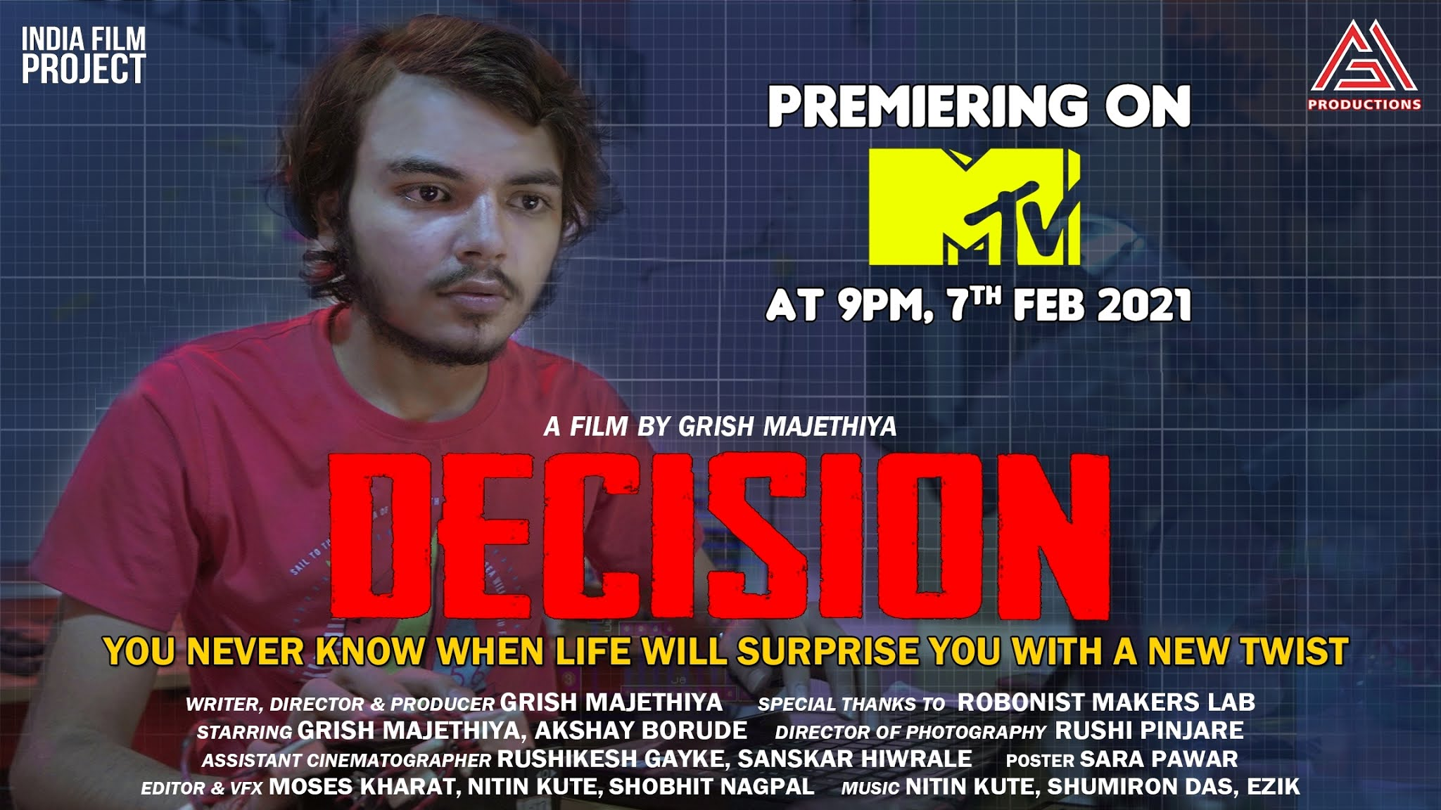 Grish-Majethiya's-Short-Film-Decision-is-selected-in-the-top-100-films-will-be-telecasted-on-MTV-India