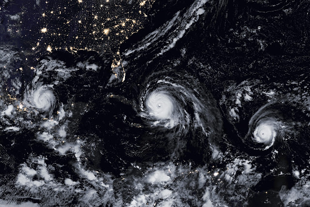 Three hurricanes seen by Suomi NPP satellite