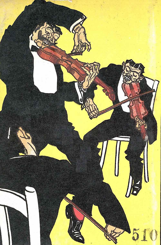 a Wiener Werkstätte greeting card by Moriz Jung, thre musicians on yellow