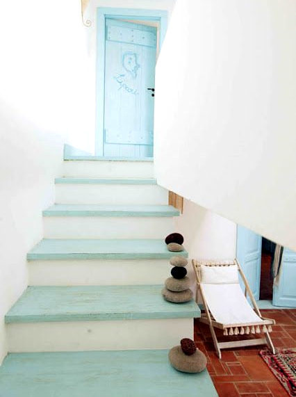 weahtered blue staircase