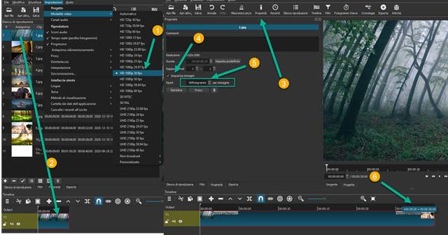 creazione di sequenza di immagini con shotcut