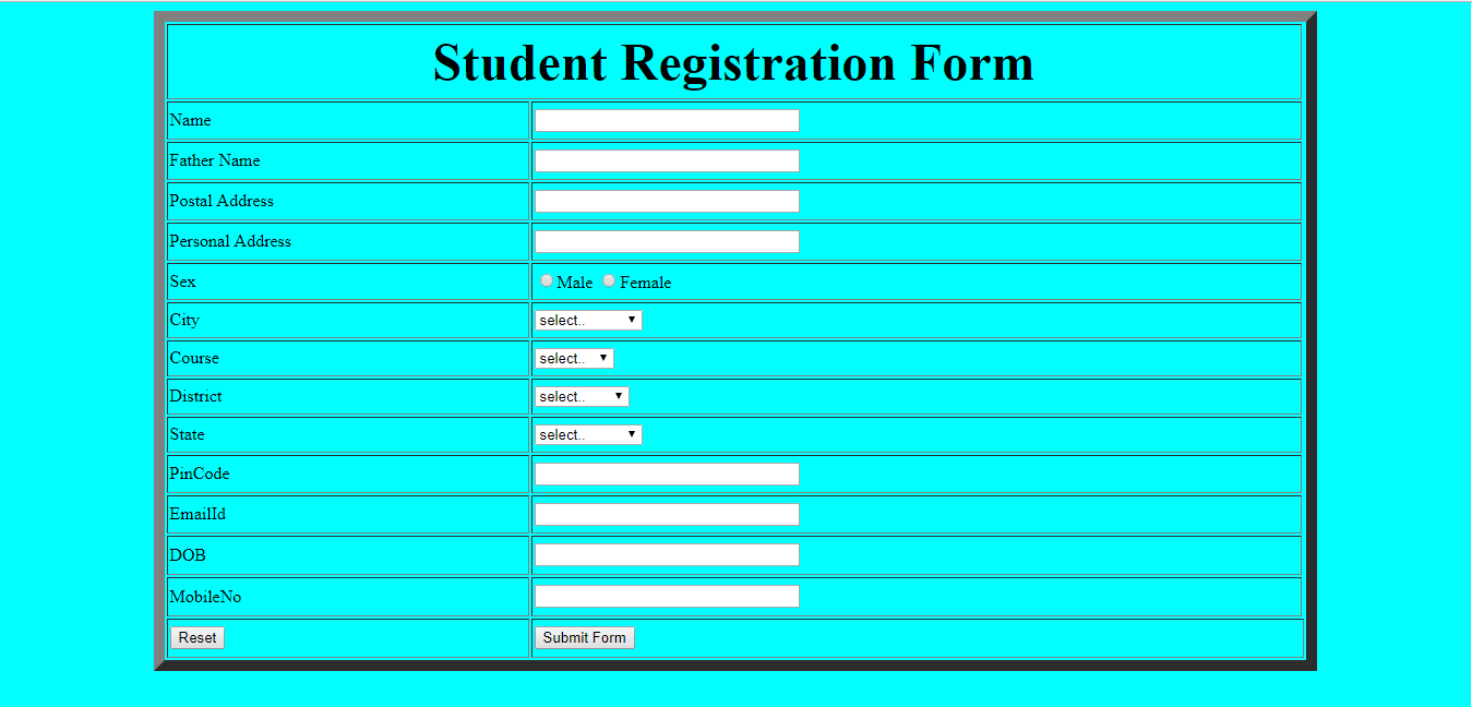 Create a student registration form using table in html for Table using html