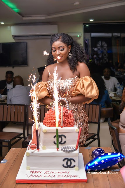 """Photos from Vivian Lam Birthday Dinner in Abuja  Kenneth Okonkwo, Empress Njamah, Isabella Ayuk, Others At Vivian Lam birthday Dinner  The Wine and Dine Birthday Party, hosted and organised by Nigeria Publisher, Pageant Consultant and Writer, Her Majesty, Vivian Lam was fun, as it was witnessed and attracted several distinguished Abuja showbiz personalities which includes Nollywood stars, Beauty Queens, Entertainers and other prestigious persons across diverse sectors.  Speaking briefly with the celebrant, Vivian Lam told our correspondents that the Wine and Dine birthday party was organised to express her rekindled affection for friends, colleagues and sponsors that have been quite resourceful to the growth and promotion of her brand as well as herself.  She appreciated everyone who made out time to grace her dinner party, stressing that on this significant day of her life, she would remain thankful to God almighty who has been the source of her strenght, opportunities and breakthroughs.  However, the party had several funlike events that cuts across comedy, presentations, photoshoots and other lively and social networking that made the gathering worth a while.  The Celebrant Vivian Lam has received gifts, goodwill messgaes, honours, awards and commendable applauds on the achievements and successes she has received over the years, especially in career as a publisher and writer. As a Pageant Consultant and Event host, she has impacted and mentored young talents.   *""""The Wine and Dine Birthday was indeed an event that throw my thoughts into these memory lanes""""*."""