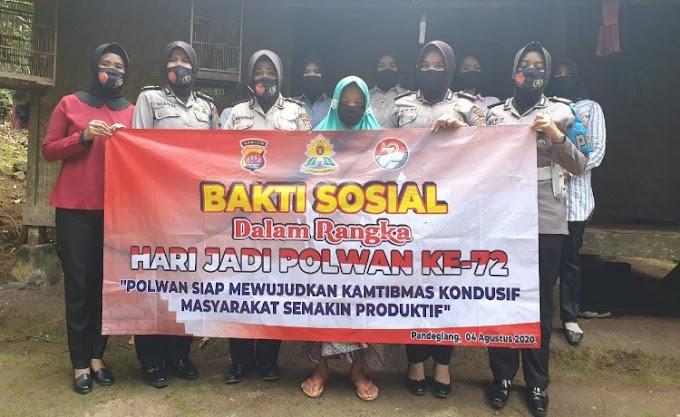 Jelang HUT Polwan ke-72, Polwan Polres Pandeglang Gelar Baksos di Kampung Keroncong