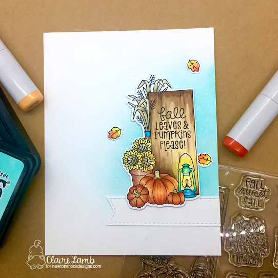 Fall leaves and pumpkins please by Claire features Banner Trio and Signs of Fall by Newton's Nook Designs; #inkypaws, #newtonsnook, #autumncards, #fallcards, #cardmaking